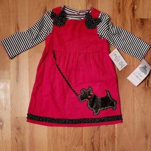 NWT Rare Editions Scottie Dog Jumper Dress Set